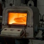 Piece of metal being forged in the furnace at Trion